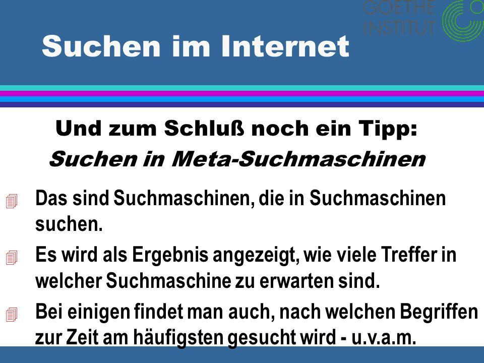 Suchen im Internet Und zum Schluß noch ein Tipp: Suchen in Meta-Suchmaschinen 4 Das sind Suchmaschinen, die in Suchmaschinen suchen. 4 Es wird als Erg