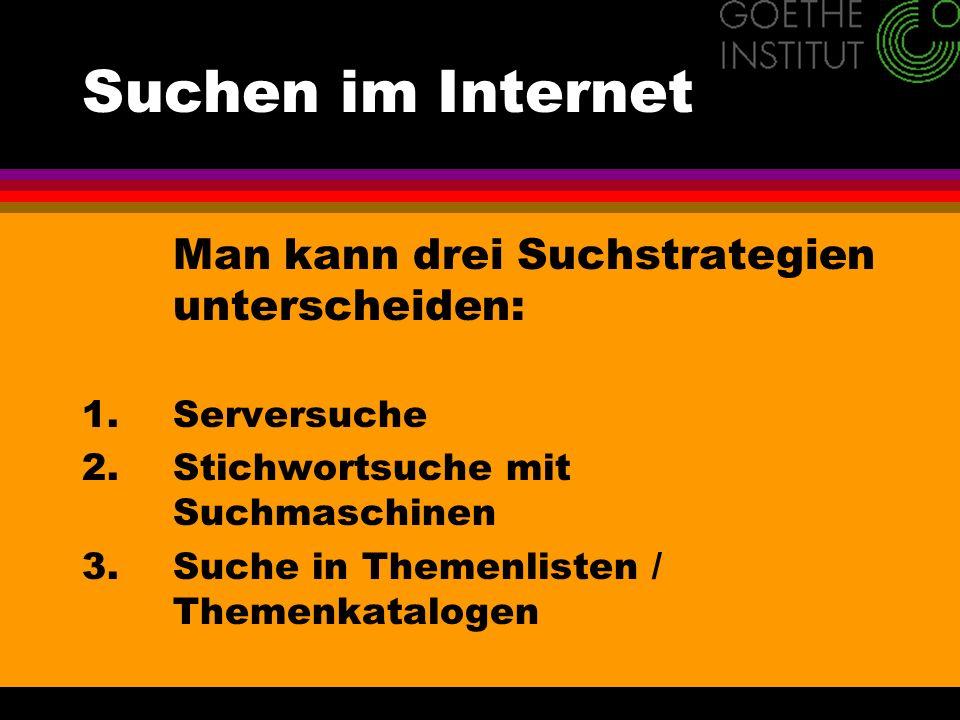 Suchen im Internet 1.Serversuche Man versucht: http://www + Name + com/org/net/de, z.B.