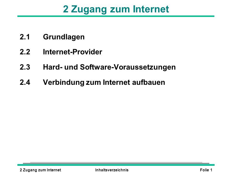 Folie 12 Zugang zum InternetInhaltsverzeichnis 2 Zugang zum Internet 2.1Grundlagen 2.2Internet-Provider 2.3Hard- und Software-Voraussetzungen 2.4Verbindung zum Internet aufbauen