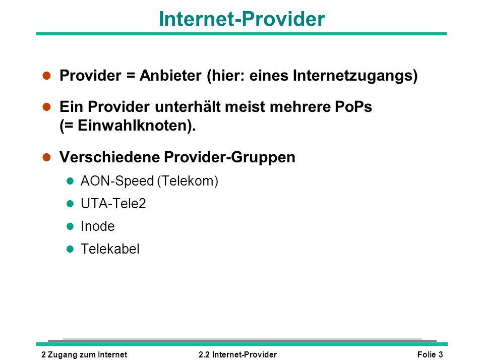 Folie 42 Zugang zum Internet2.2 Internet-Provider Vertrag mit einem Provider l Mittels Vertrag mit dem Provider erhält der Anwender für den Internetzugang: l Benutzernamen und Kennwort l Telefonnummer des PoP l Eventuell E-Mail-Adresse l Eventuell Webspace (= Platz für eigene Seiten im Internet) l IP-Adressen der Provider-Server