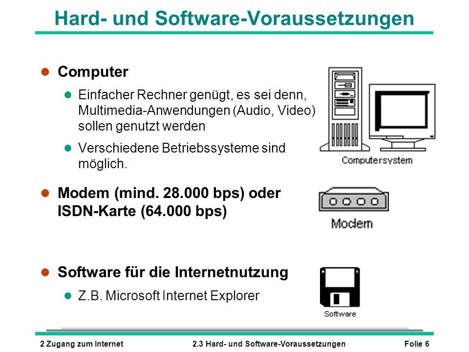 Folie 62 Zugang zum Internet2.3 Hard- und Software-Voraussetzungen Hard- und Software-Voraussetzungen l Computer l Einfacher Rechner genügt, es sei denn, Multimedia-Anwendungen (Audio, Video) sollen genutzt werden l Verschiedene Betriebssysteme sind möglich.