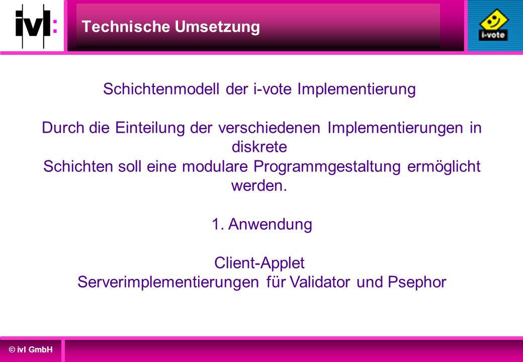 © ivl GmbH Technische Umsetzung Schichtenmodell der i-vote Implementierung Durch die Einteilung der verschiedenen Implementierungen in diskrete Schich