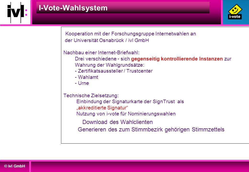 © ivl GmbH I-Vote-Wahlsystem Kooperation mit der Forschungsgruppe Internetwahlen an der Universität Osnabrück / ivl GmbH Nachbau einer Internet-Briefw