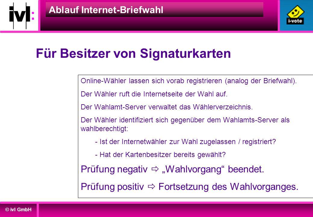 © ivl GmbH Ablauf Internet-Briefwahl Online-Wähler lassen sich vorab registrieren (analog der Briefwahl). Der Wähler ruft die Internetseite der Wahl a