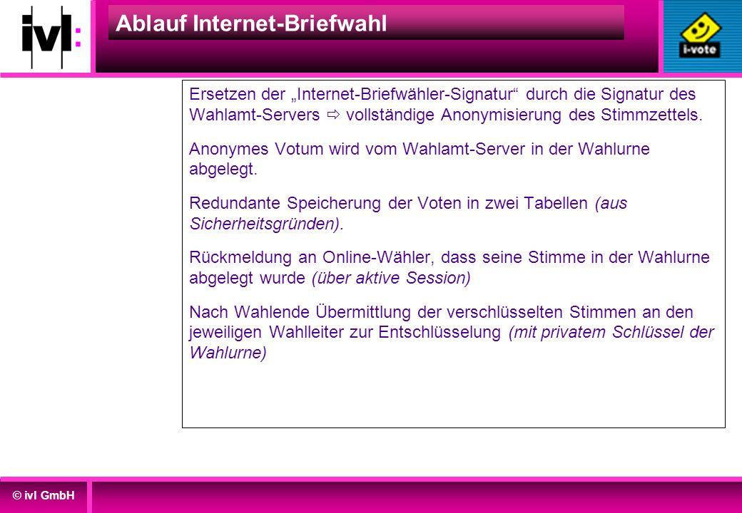 © ivl GmbH Ablauf Internet-Briefwahl Ersetzen der Internet-Briefwähler-Signatur durch die Signatur des Wahlamt-Servers vollständige Anonymisierung des
