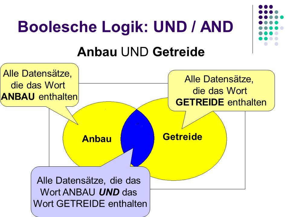 Boolesche Logik: UND / AND Anbau Getreide Anbau UND Getreide Alle Datensätze, die das Wort ANBAU enthalten Alle Datensätze, die das Wort GETREIDE enth