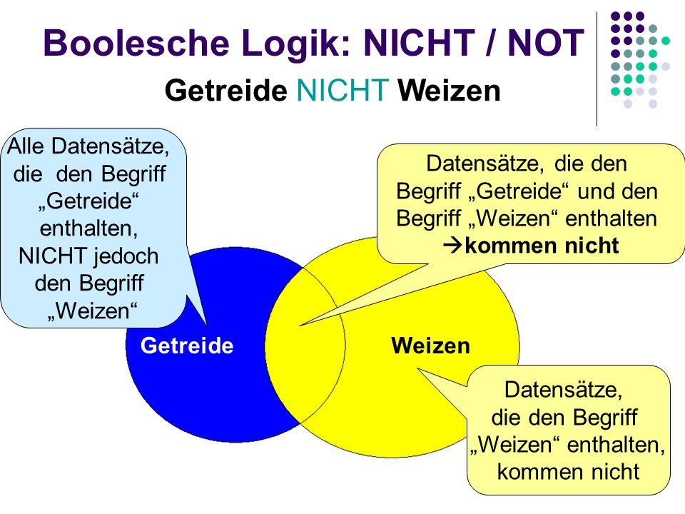 Boolesche Logik: NICHT / NOT Getreide NICHT Weizen GetreideWeizen Datensätze, die den Begriff Weizen enthalten, kommen nicht Datensätze, die den Begri