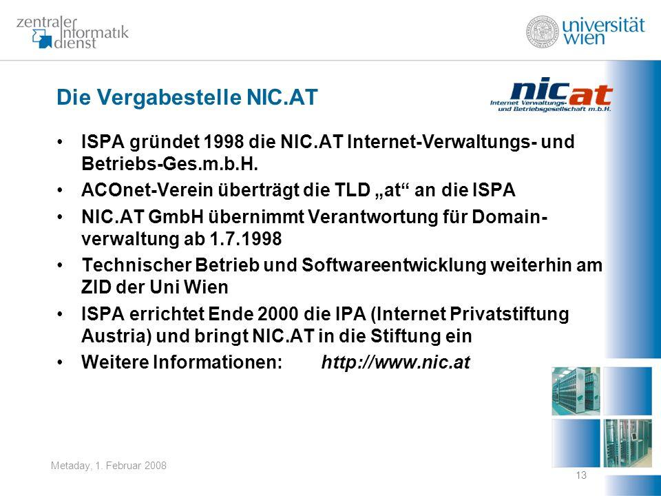 Metaday, 1. Februar 2008 13 Die Vergabestelle NIC.AT ISPA gründet 1998 die NIC.AT Internet-Verwaltungs- und Betriebs-Ges.m.b.H. ACOnet-Verein überträg