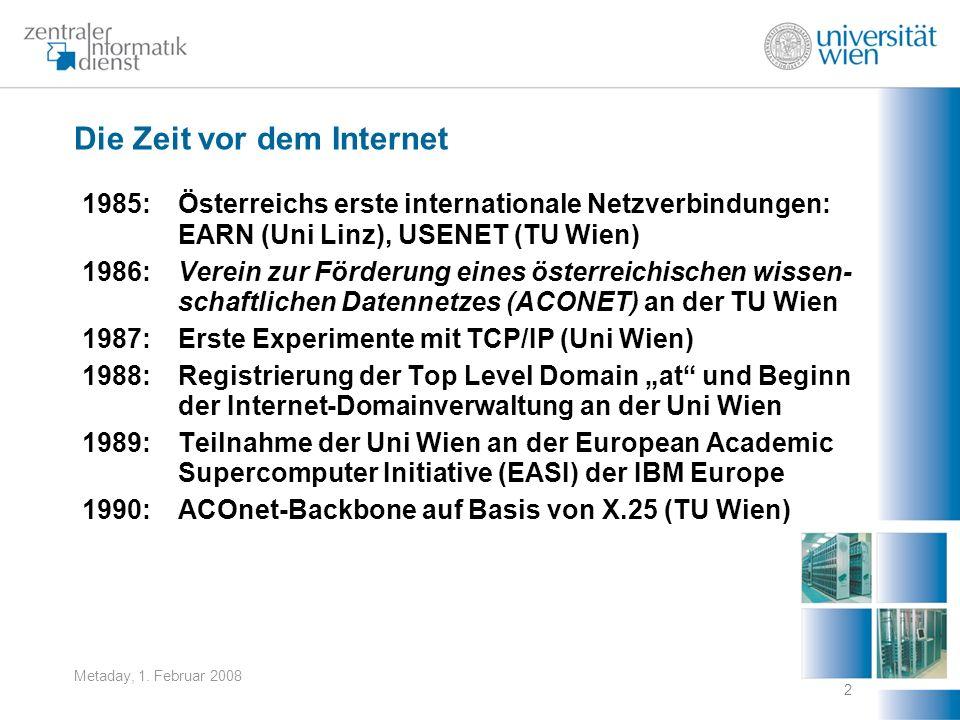 Metaday, 1. Februar 2008 2 Die Zeit vor dem Internet 1985: Österreichs erste internationale Netzverbindungen: EARN (Uni Linz), USENET (TU Wien) 1986:V