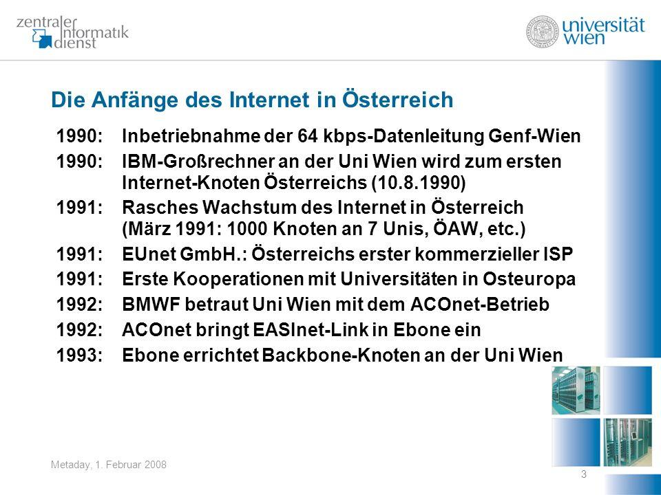 Metaday, 1. Februar 2008 3 Die Anfänge des Internet in Österreich 1990:Inbetriebnahme der 64 kbps-Datenleitung Genf-Wien 1990:IBM-Großrechner an der U