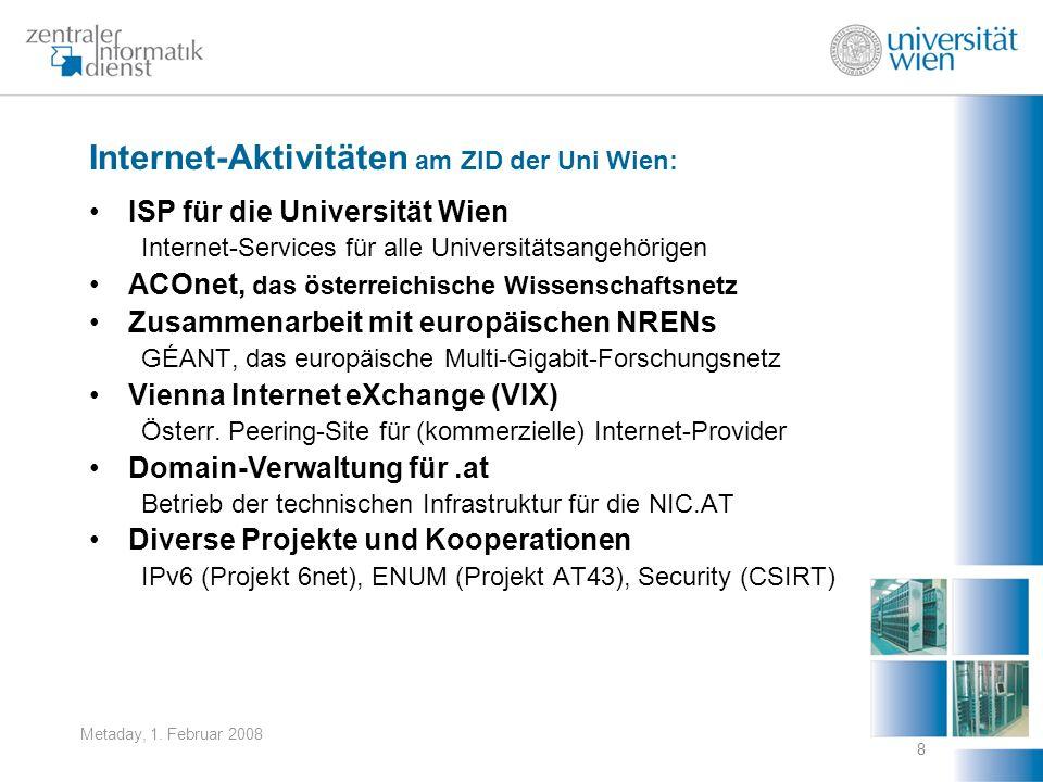 Metaday, 1. Februar 2008 8 Internet-Aktivitäten am ZID der Uni Wien: ISP für die Universität Wien Internet-Services für alle Universitätsangehörigen A