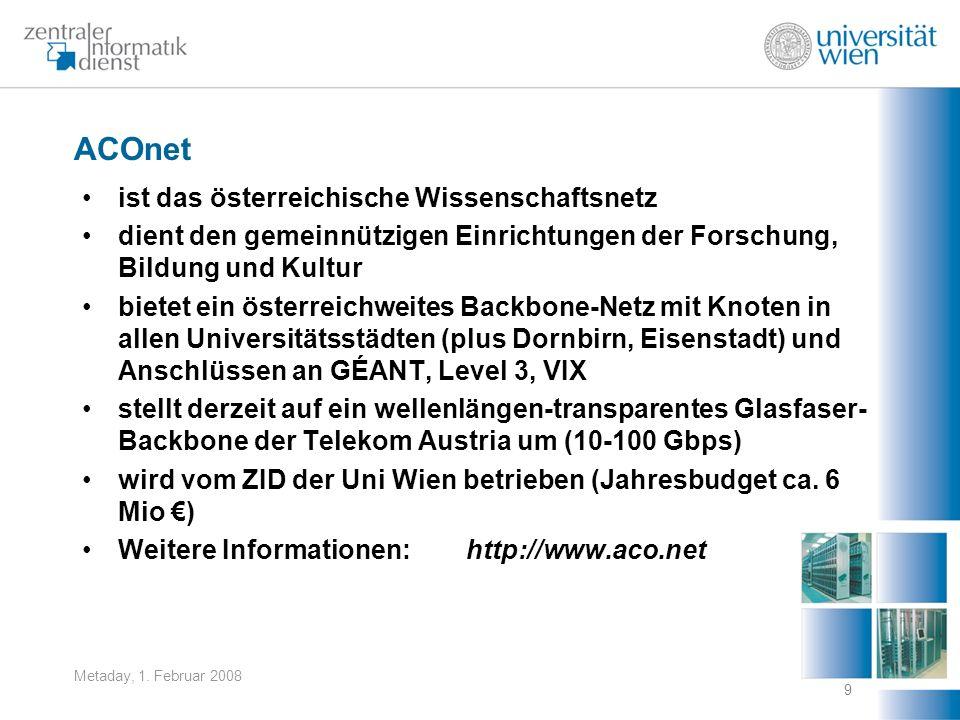 Metaday, 1. Februar 2008 9 ACOnet ist das österreichische Wissenschaftsnetz dient den gemeinnützigen Einrichtungen der Forschung, Bildung und Kultur b