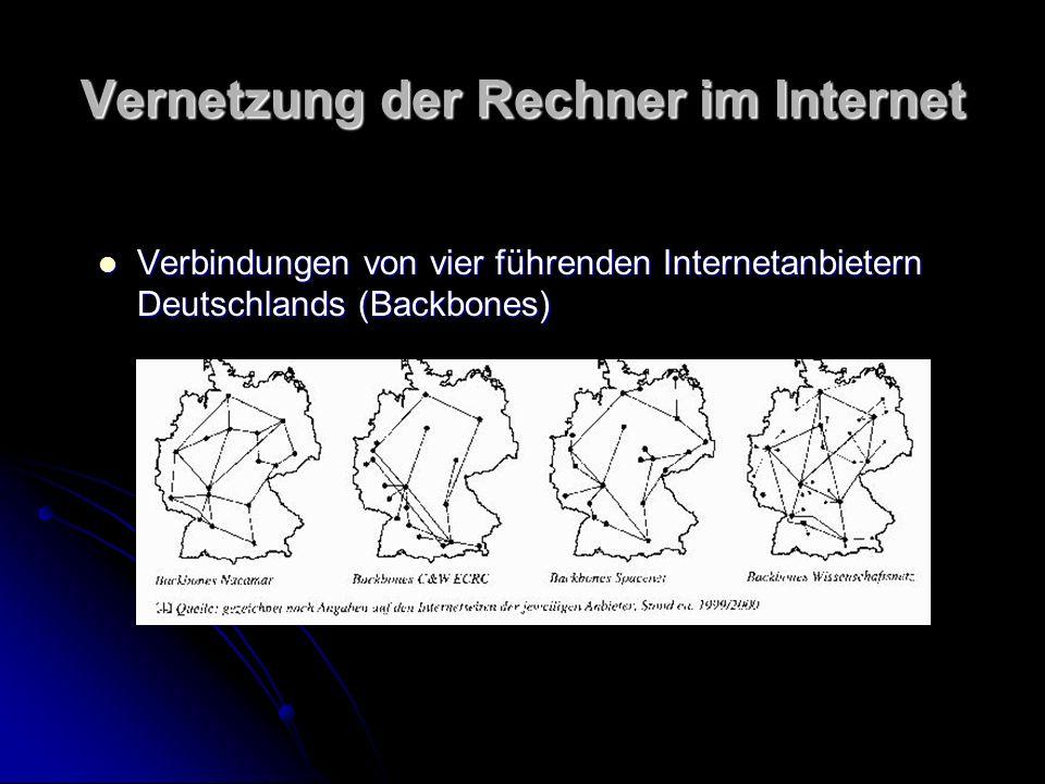 Vernetzung der Rechner im Internet Verbindungen von vier führenden Internetanbietern Deutschlands (Backbones) Verbindungen von vier führenden Internet