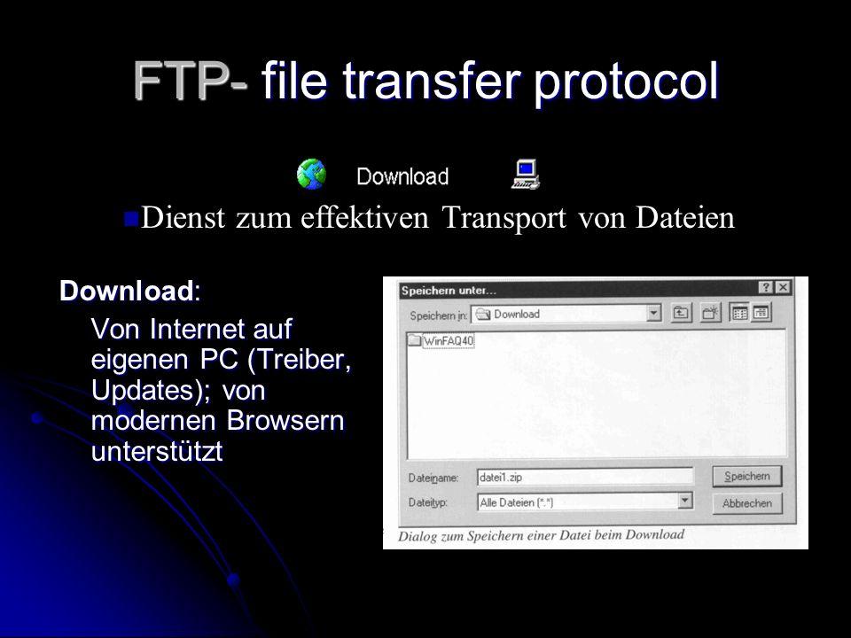 FTP- file transfer protocol Download: Von Internet auf eigenen PC (Treiber, Updates); von modernen Browsern unterstützt n Dienst zum effektiven Transp