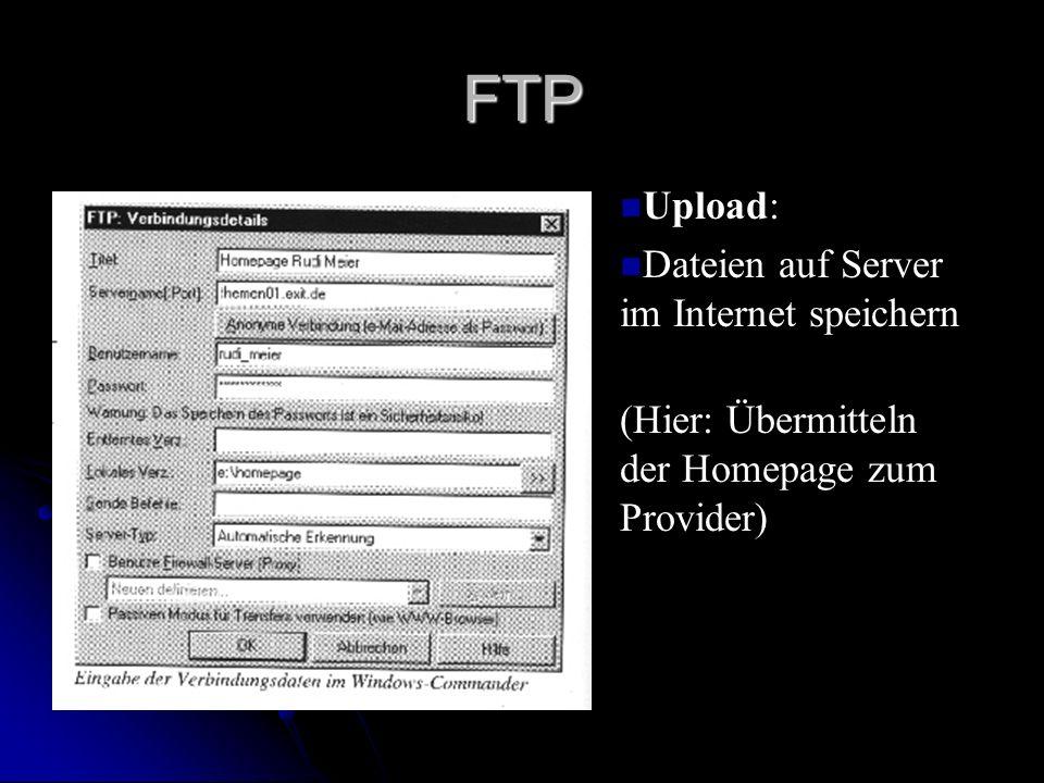 FTP n Upload: n Dateien auf Server im Internet speichern (Hier: Übermitteln der Homepage zum Provider)