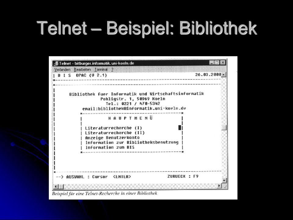 Telnet – Beispiel: Bibliothek