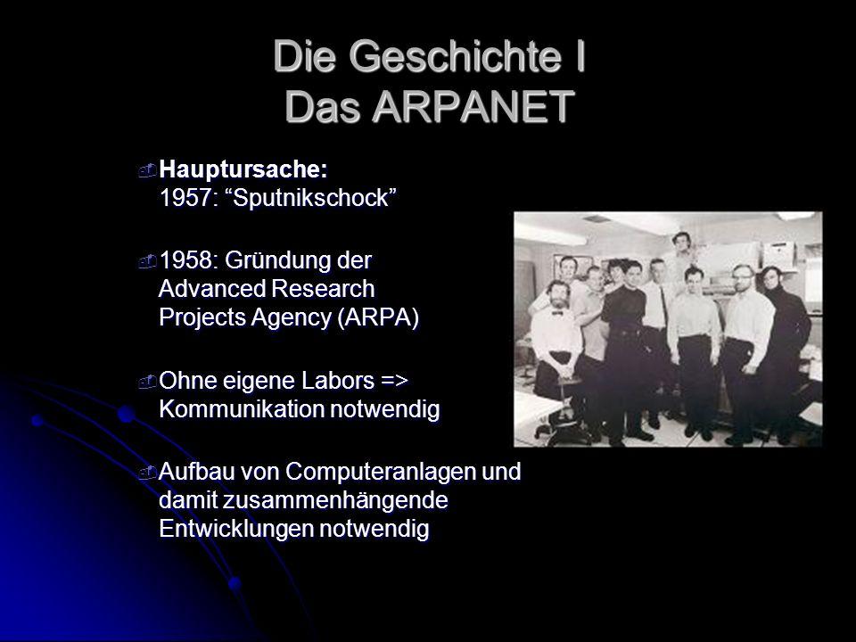 Die Geschichte I Das ARPANET - Hauptursache: 1957: Sputnikschock - 1958: Gründung der Advanced Research Projects Agency (ARPA) - Ohne eigene Labors =>