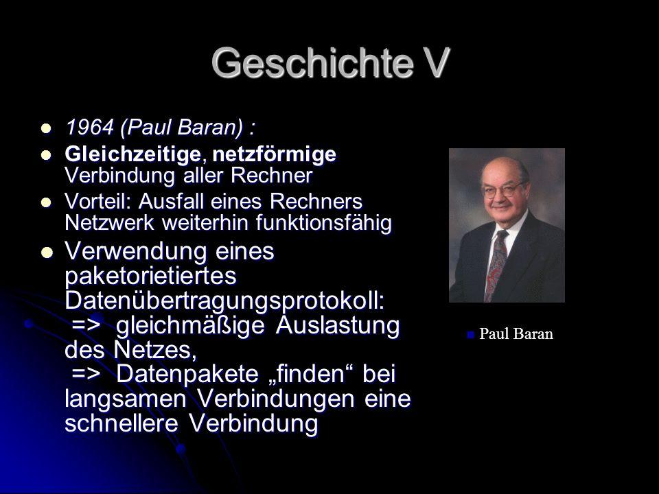 Geschichte V 1964 (Paul Baran) : 1964 (Paul Baran) : Gleichzeitige, netzförmige Verbindung aller Rechner Gleichzeitige, netzförmige Verbindung aller R