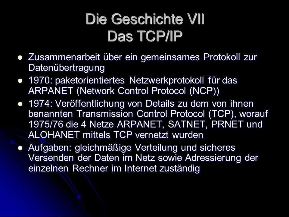 Die Geschichte VII Das TCP/IP Zusammenarbeit über ein gemeinsames Protokoll zur Datenübertragung Zusammenarbeit über ein gemeinsames Protokoll zur Dat