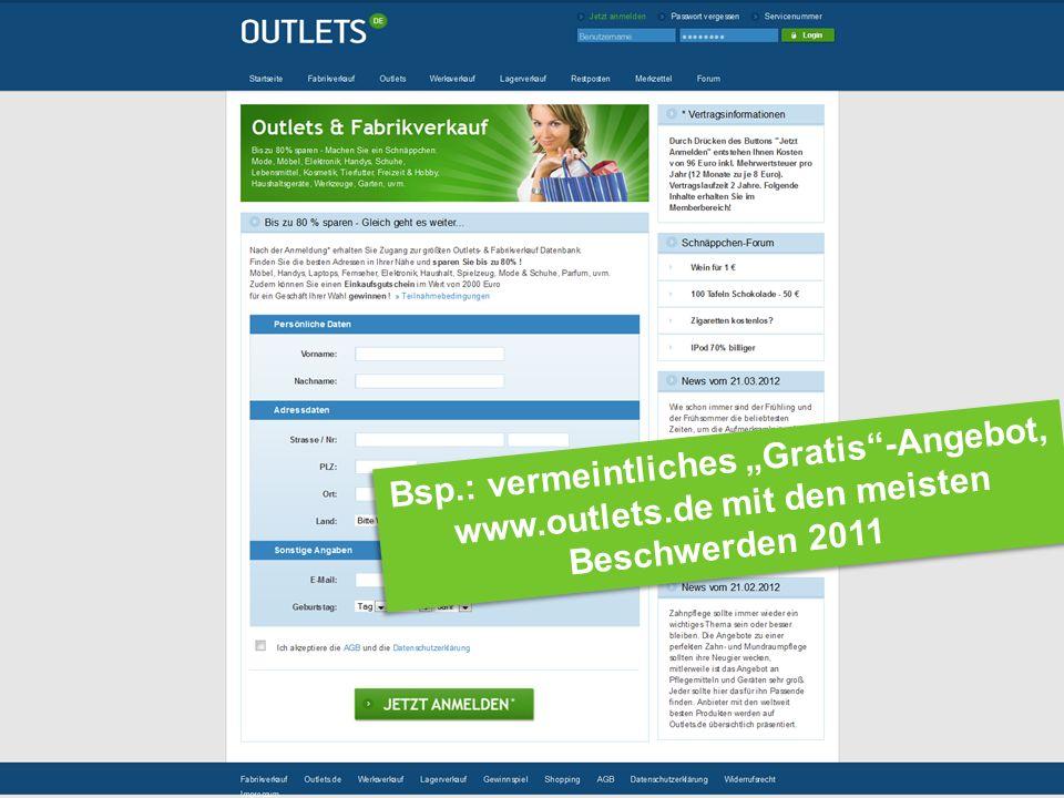 Bsp.: vermeintliches Gratis-Angebot, www.outlets.de mit den meisten Beschwerden 2011 Bsp.: vermeintliches Gratis-Angebot, www.outlets.de mit den meisten Beschwerden 2011