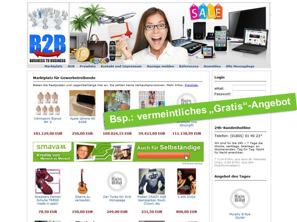 Internet Ombudsmann Bsp.: vermeintliches Gratis-Angebot