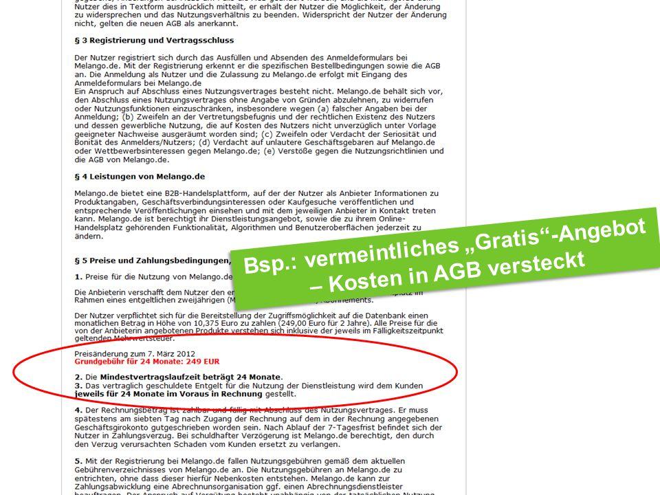 Internet Ombudsmann Bsp.: vermeintliches Gratis-Angebot – Kosten in AGB versteckt