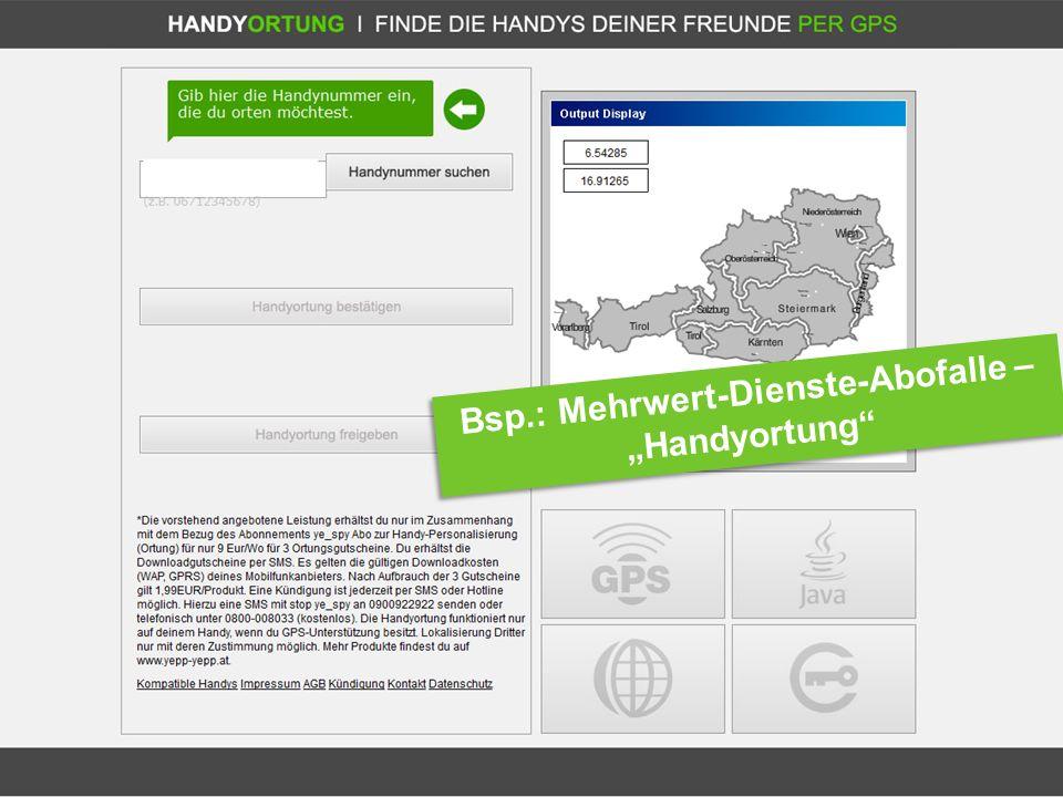 Tipps: Internet Ombudsmann Bsp.: Mehrwert-Dienste-Abofalle – Handyortung