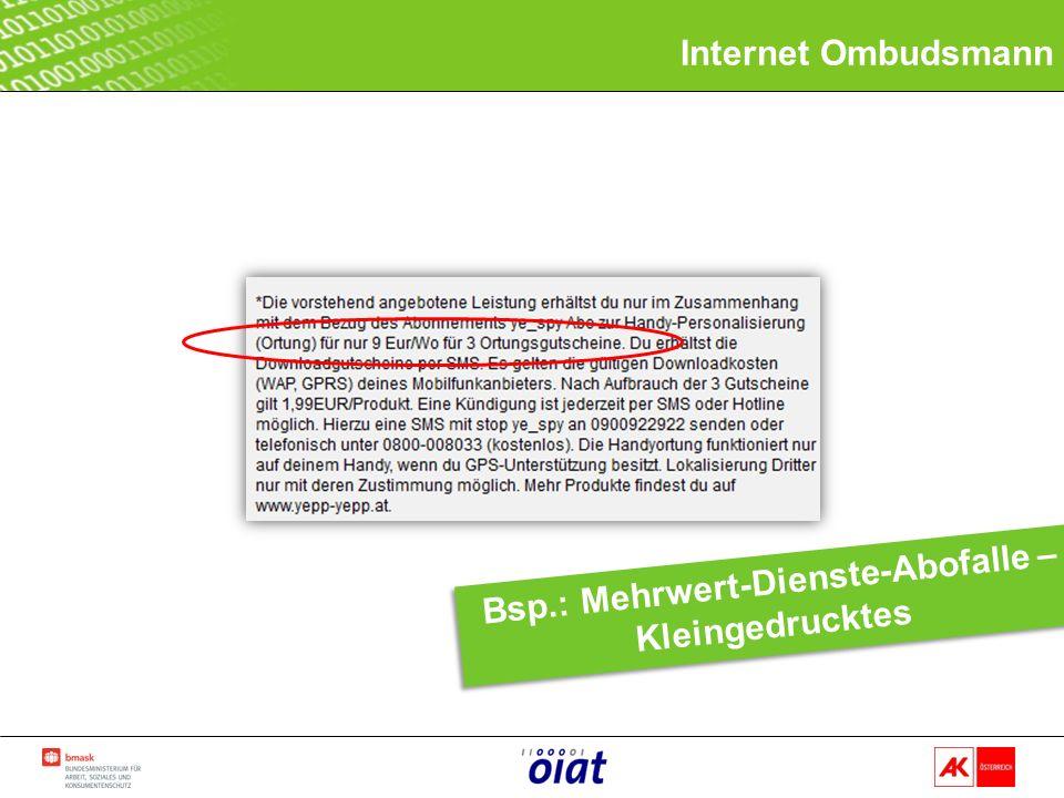 Internet Ombudsmann Bsp.: Mehrwert-Dienste-Abofalle – Kleingedrucktes