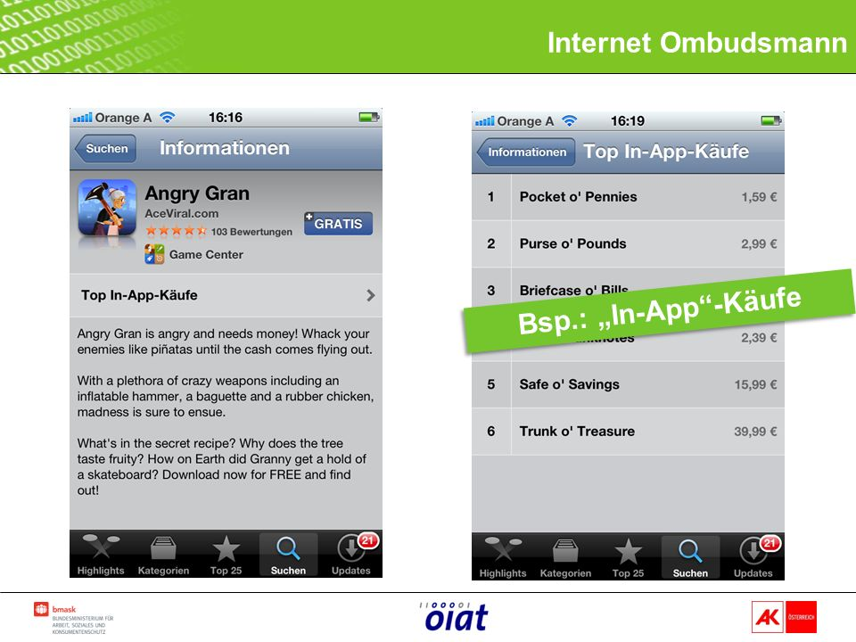 Internet Ombudsmann Bsp.: In-App-Käufe
