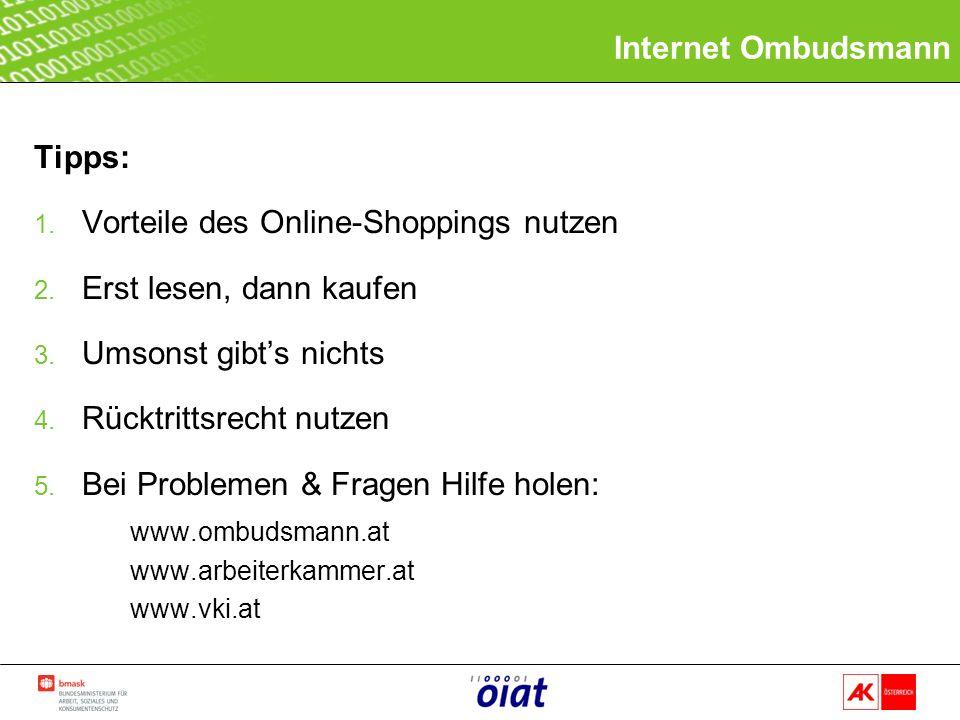 Tipps: 1. Vorteile des Online-Shoppings nutzen 2.