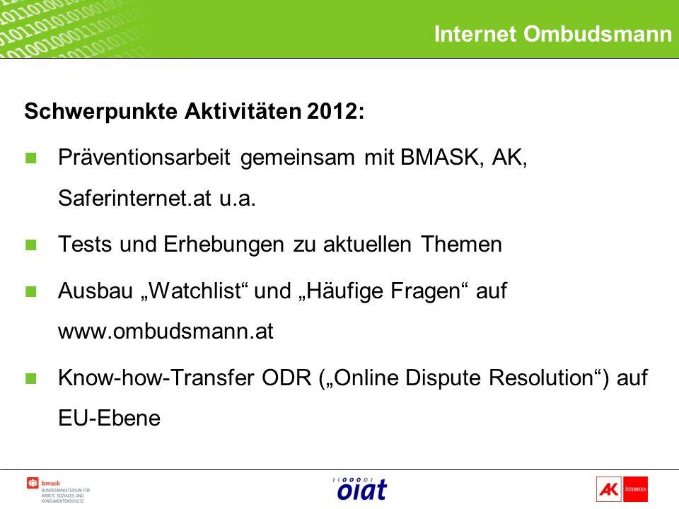 Schwerpunkte Aktivitäten 2012: n Präventionsarbeit gemeinsam mit BMASK, AK, Saferinternet.at u.a.