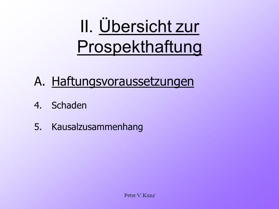 Peter V.Kunz II. Übersicht zur Prospekthaftung A.Haftungsvoraussetzungen 4.Schaden 5.