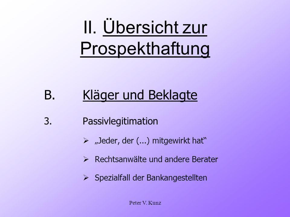 Peter V. Kunz II. Übersicht zur Prospekthaftung B.Kläger und Beklagte 3. Passivlegitimation Jeder, der (...) mitgewirkt hat Rechtsanwälte und andere B