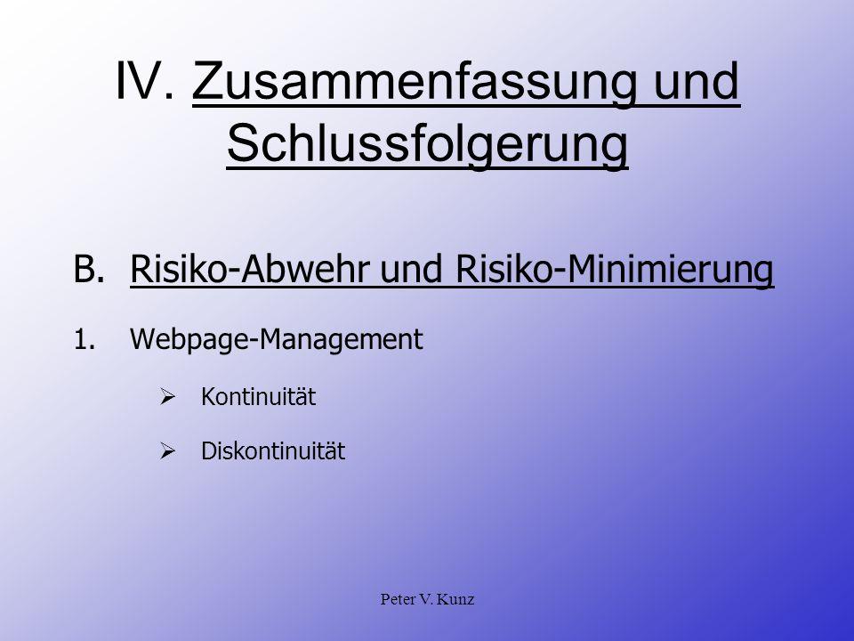 Peter V. Kunz IV. Zusammenfassung und Schlussfolgerung B.Risiko-Abwehr und Risiko-Minimierung 1.Webpage-Management Kontinuität Diskontinuität