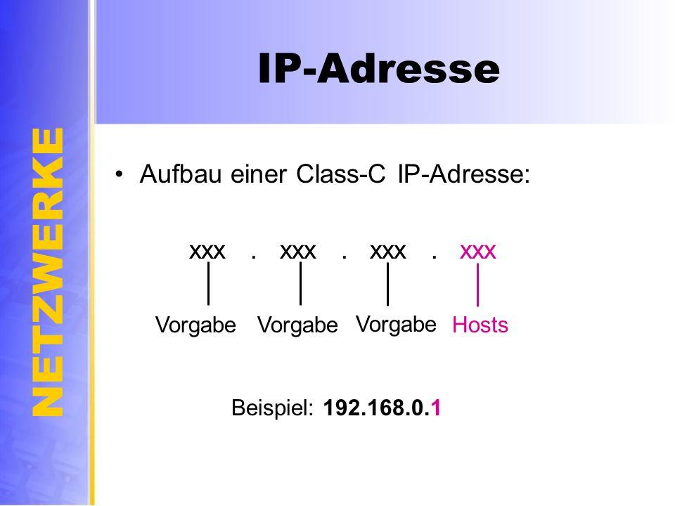 NETZWERKE IP-Adresse Aufbau einer Class-C IP-Adresse: xxx. xxx. xxx. xxx Vorgabe Hosts Beispiel: 192.168.0.1