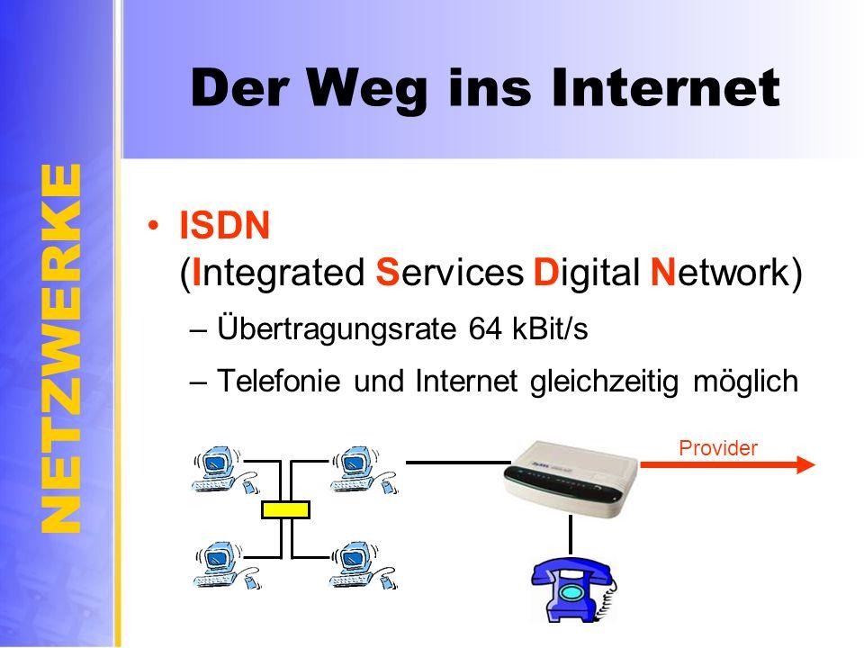 NETZWERKE Der Weg ins Internet ISDN (Integrated Services Digital Network) –Übertragungsrate 64 kBit/s –Telefonie und Internet gleichzeitig möglich Pro