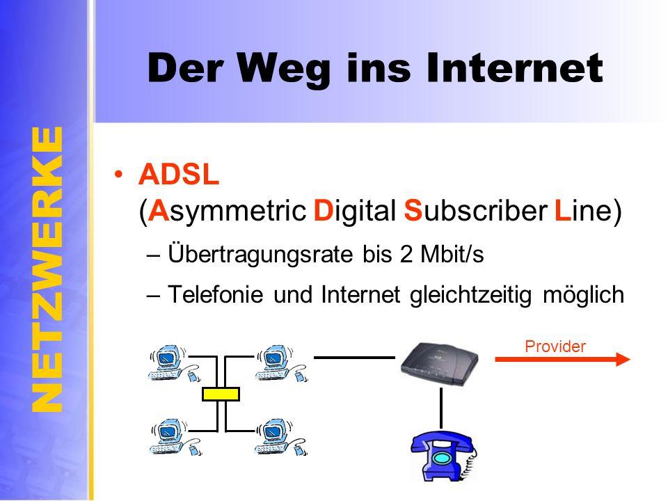 NETZWERKE Der Weg ins Internet ADSL (Asymmetric Digital Subscriber Line) –Übertragungsrate bis 2 Mbit/s –Telefonie und Internet gleichtzeitig möglich