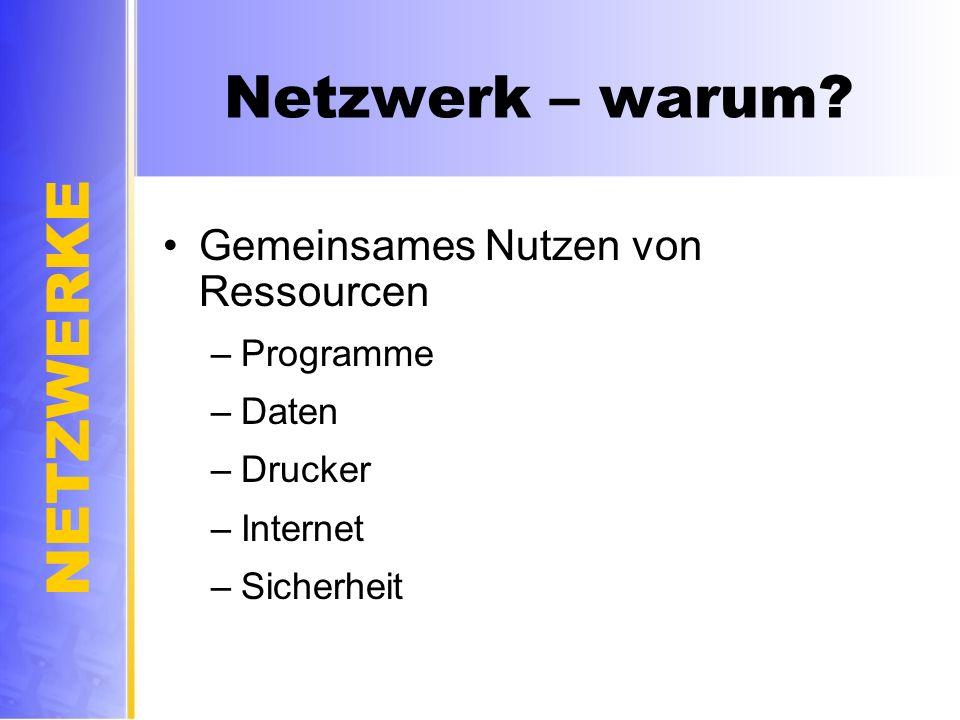 NETZWERKE Netzwerk – warum? Gemeinsames Nutzen von Ressourcen –Programme –Daten –Drucker –Internet –Sicherheit