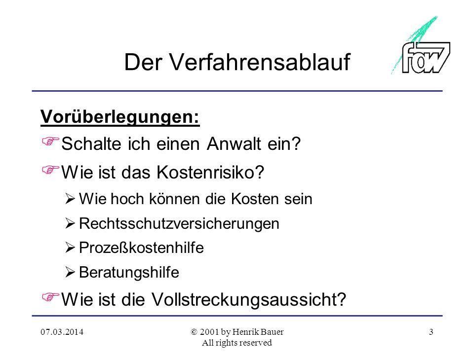 07.03.2014© 2001 by Henrik Bauer All rights reserved 2 Ordentliche Gerichtsbarkeit Streitige Zivilgerichtsbar- keit, § 13 GVG Strafge- richts- barkeit