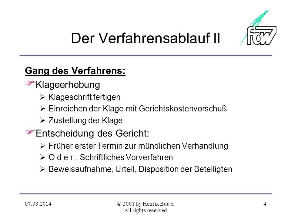 07.03.2014© 2001 by Henrik Bauer All rights reserved 3 Der Verfahrensablauf Vorüberlegungen: Schalte ich einen Anwalt ein? Wie ist das Kostenrisiko? W