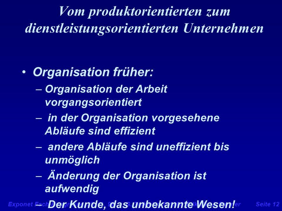 Exponet Fach-Kongresse, 25. 11. 98 G. Tolkiehn, © 1998 Tolkiehn & PartnerSeite 12 Vom produktorientierten zum dienstleistungsorientierten Unternehmen