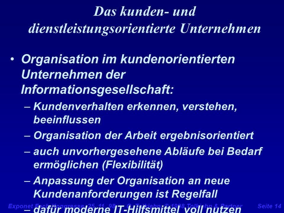 Exponet Fach-Kongresse, 25. 11. 98 G. Tolkiehn, © 1998 Tolkiehn & PartnerSeite 14 Das kunden- und dienstleistungsorientierte Unternehmen Organisation