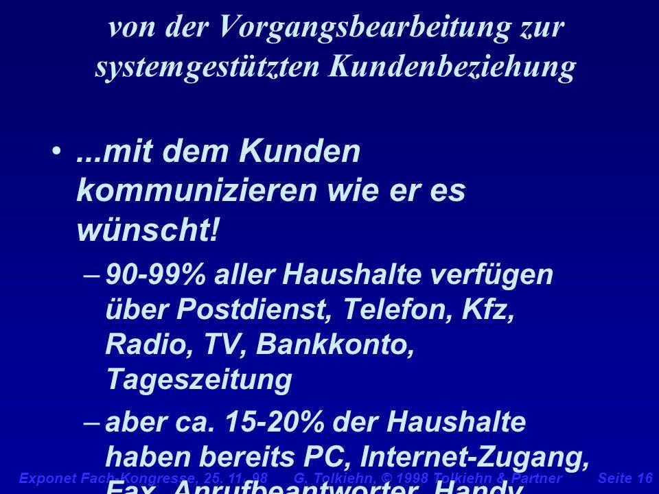 Exponet Fach-Kongresse, 25. 11. 98 G. Tolkiehn, © 1998 Tolkiehn & PartnerSeite 16 von der Vorgangsbearbeitung zur systemgestützten Kundenbeziehung...m