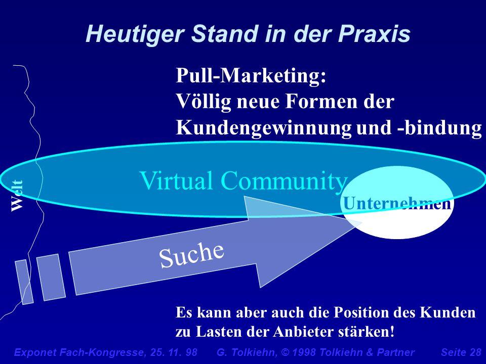 Exponet Fach-Kongresse, 25. 11. 98 G. Tolkiehn, © 1998 Tolkiehn & PartnerSeite 28 Unternehmen Heutiger Stand in der Praxis Pull-Marketing: Völlig neue