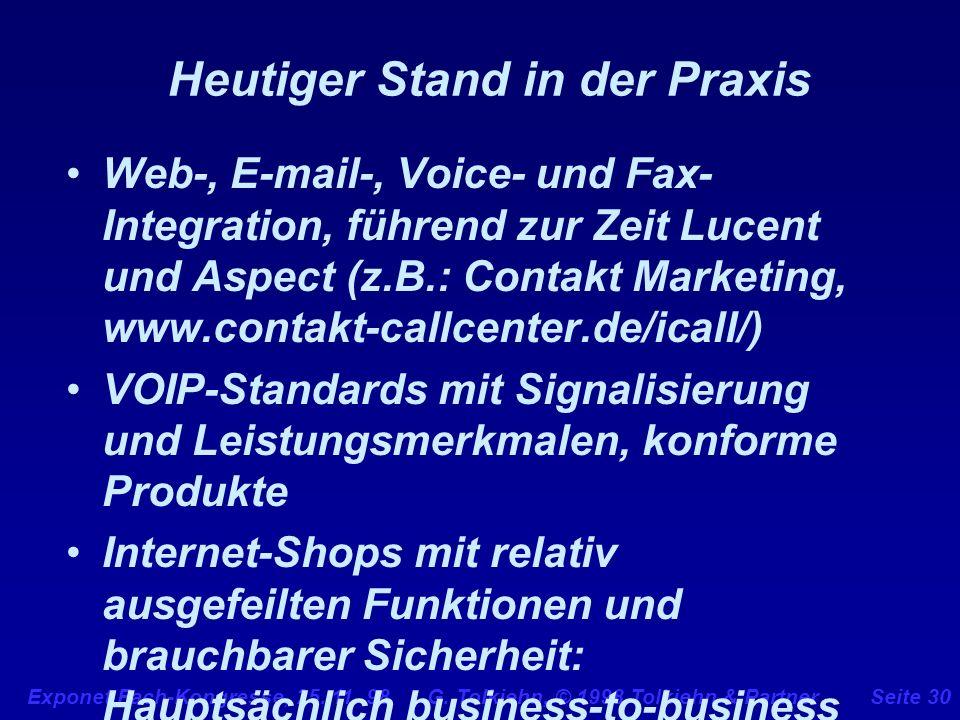 Exponet Fach-Kongresse, 25. 11. 98 G. Tolkiehn, © 1998 Tolkiehn & PartnerSeite 30 Heutiger Stand in der Praxis Web-, E-mail-, Voice- und Fax- Integrat