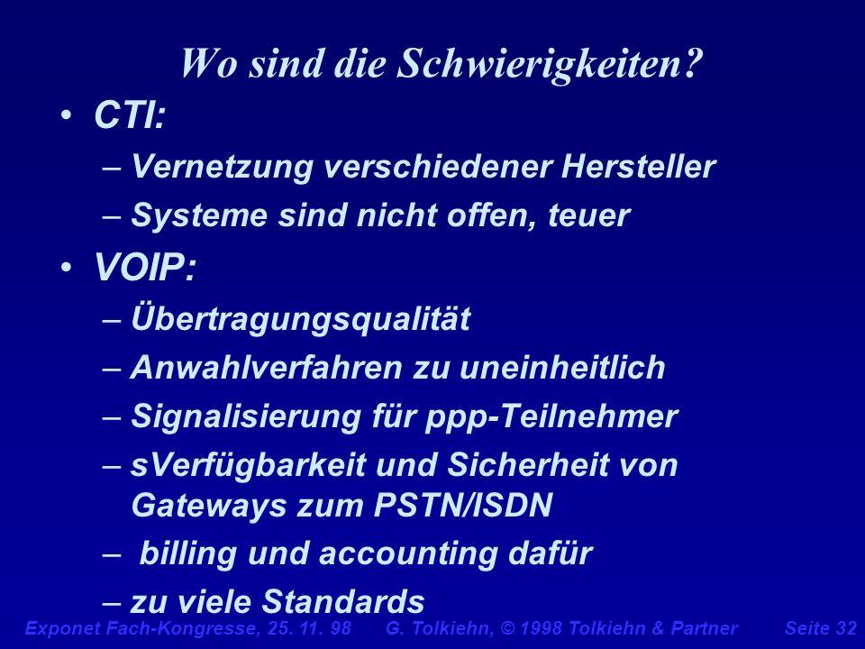 Exponet Fach-Kongresse, 25. 11. 98 G. Tolkiehn, © 1998 Tolkiehn & PartnerSeite 32 Wo sind die Schwierigkeiten? CTI: –Vernetzung verschiedener Herstell
