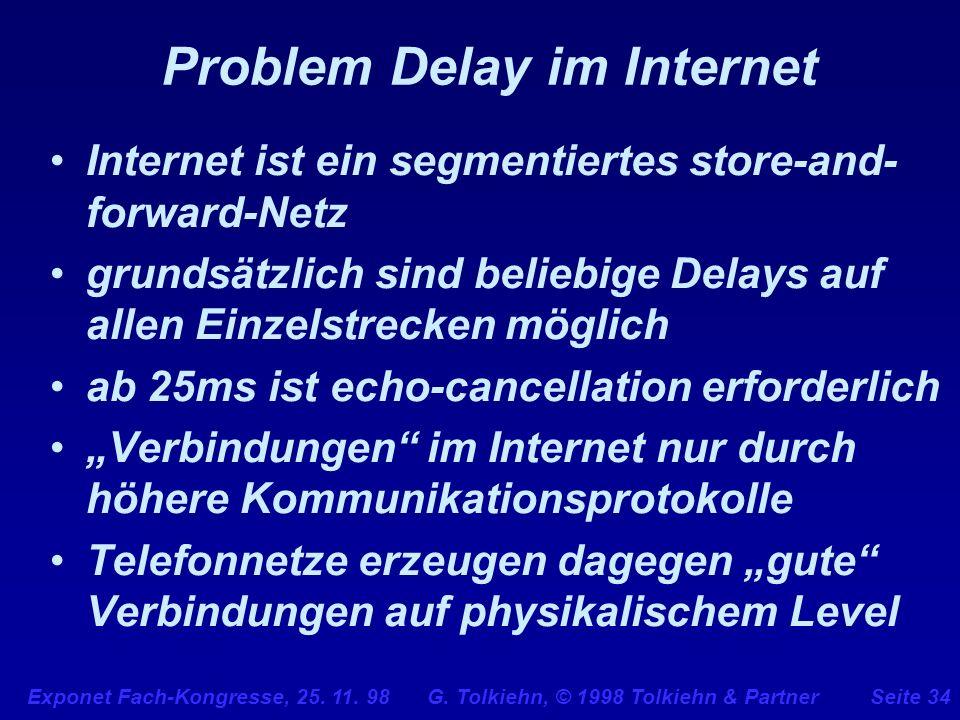 Exponet Fach-Kongresse, 25. 11. 98 G. Tolkiehn, © 1998 Tolkiehn & PartnerSeite 34 Problem Delay im Internet Internet ist ein segmentiertes store-and-