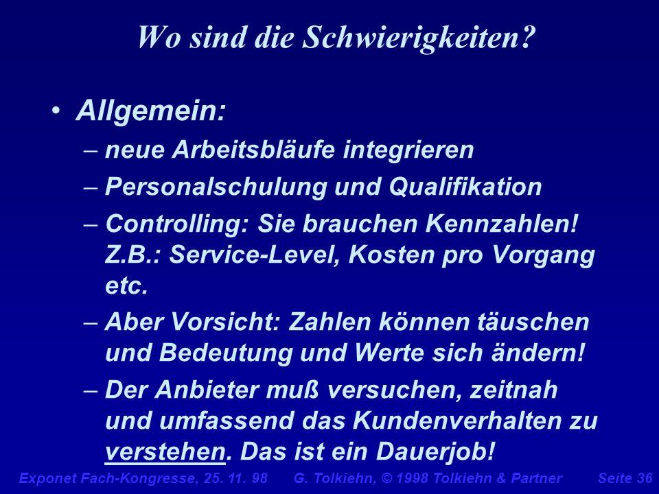 Exponet Fach-Kongresse, 25. 11. 98 G. Tolkiehn, © 1998 Tolkiehn & PartnerSeite 36 Wo sind die Schwierigkeiten? Allgemein: –neue Arbeitsbläufe integrie