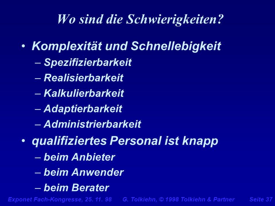 Exponet Fach-Kongresse, 25. 11. 98 G. Tolkiehn, © 1998 Tolkiehn & PartnerSeite 37 Wo sind die Schwierigkeiten? Komplexität und Schnellebigkeit –Spezif