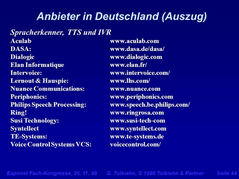 Exponet Fach-Kongresse, 25. 11. 98 G. Tolkiehn, © 1998 Tolkiehn & PartnerSeite 44 Anbieter in Deutschland (Auszug) Spracherkenner, TTS und IVR Aculabw